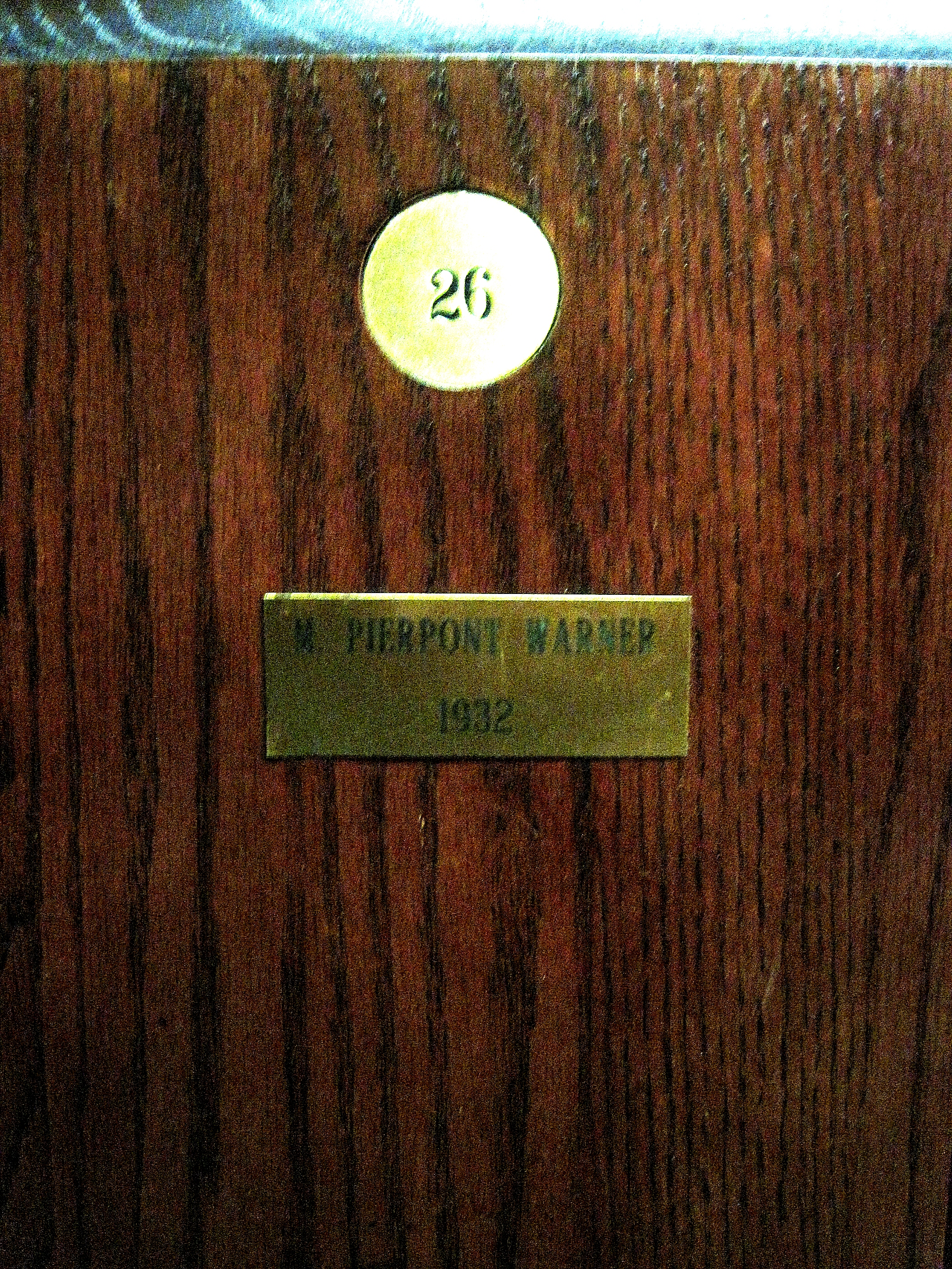 Pipie Warner's locker at the North and South Amateur Champions Locker Room at Pinehurst Resort.