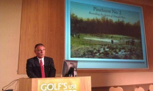 Pinehurst Director of Golf Course Maintenance and Grounds Bob Farren speaks at the USGA's Water Summit on Wednesday, Nov. 7.