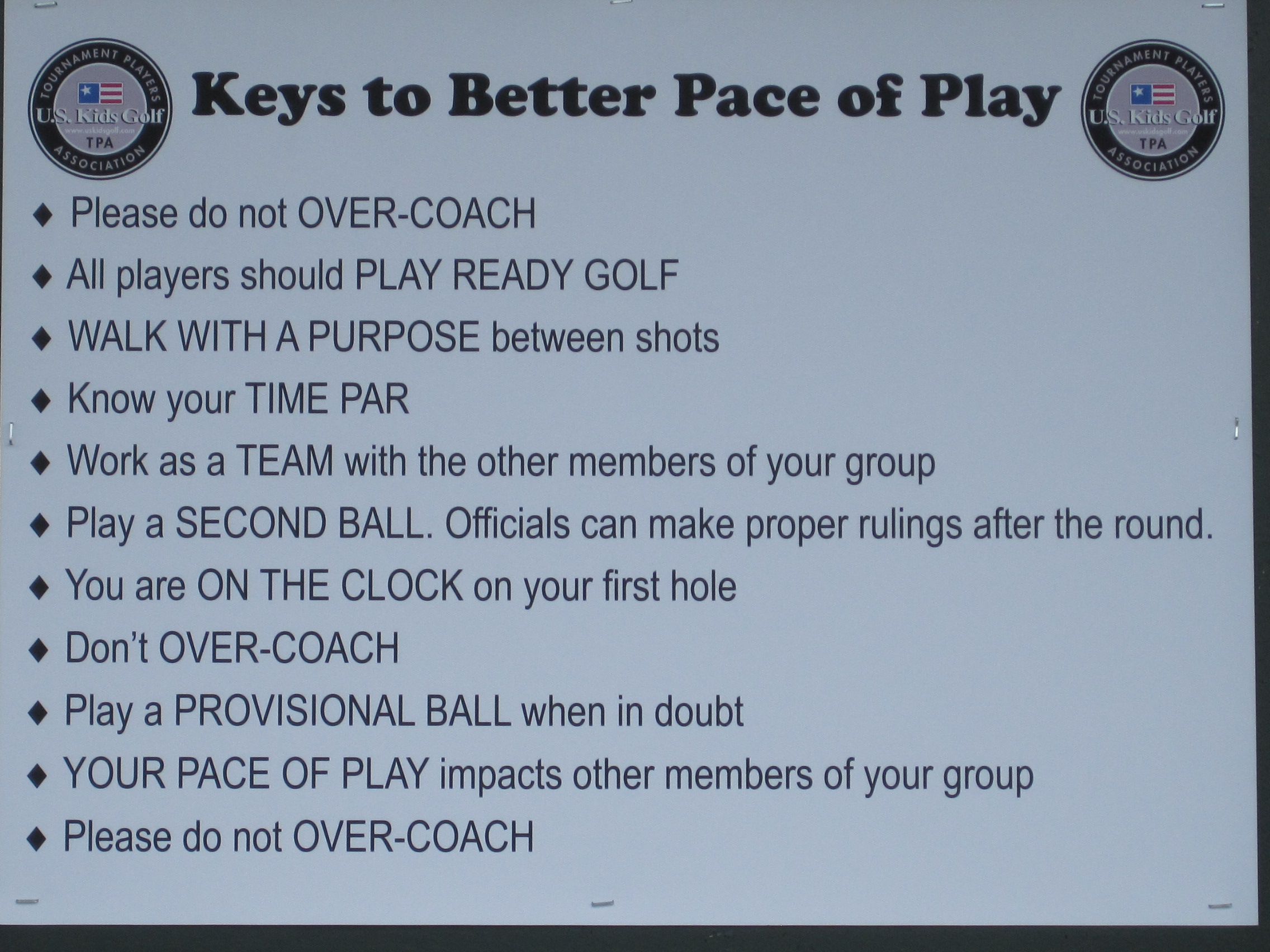 U.S. Kids Keys to Better Pace of Play