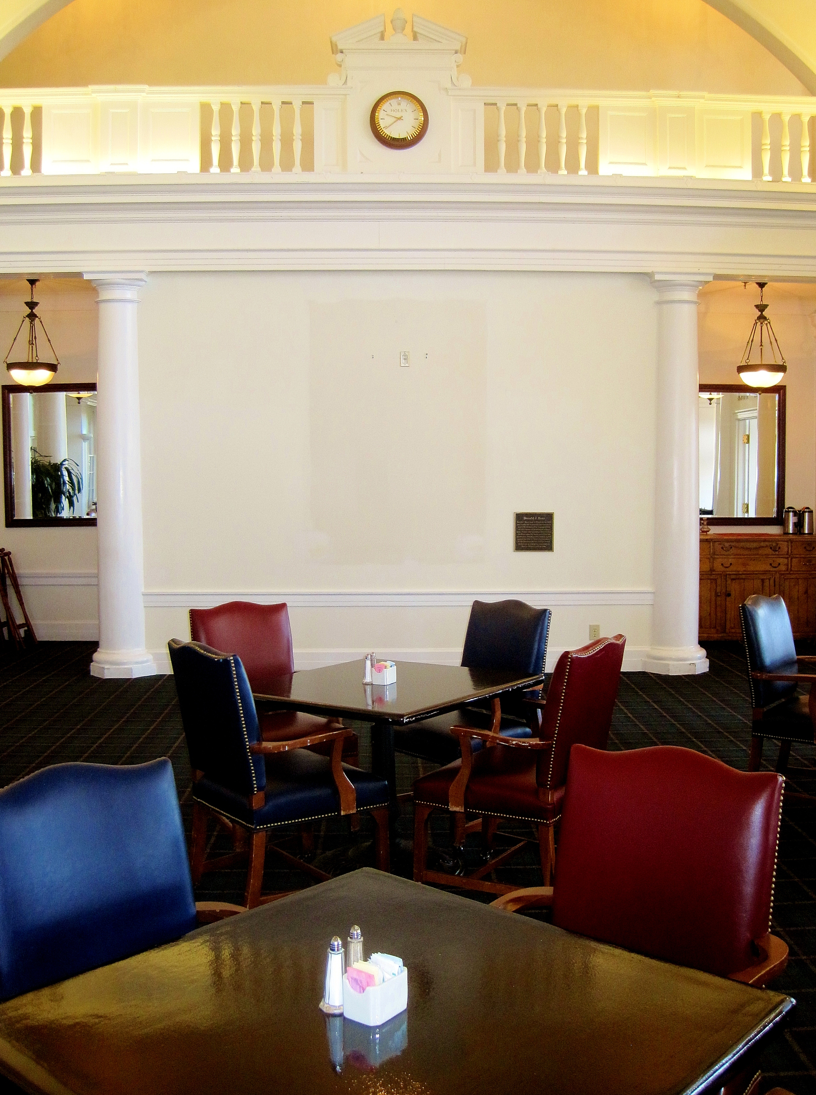 A blank space remains for the time being at Pinehurst's Donald Ross Grill while the portrait of the famed golf course architect is restored this month.