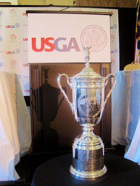 The U.S. Open Trophy is in Pinehurst, displayed at the USGA's news conference to preview the historic back-to-back U.S. Opens at Pinehurst in 2014.