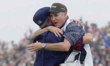 Caddie Mike Hicks jumps into the arms of Payne Stewart after Stewart won the 1999 U.S. Open at Pinehurst No. 2.