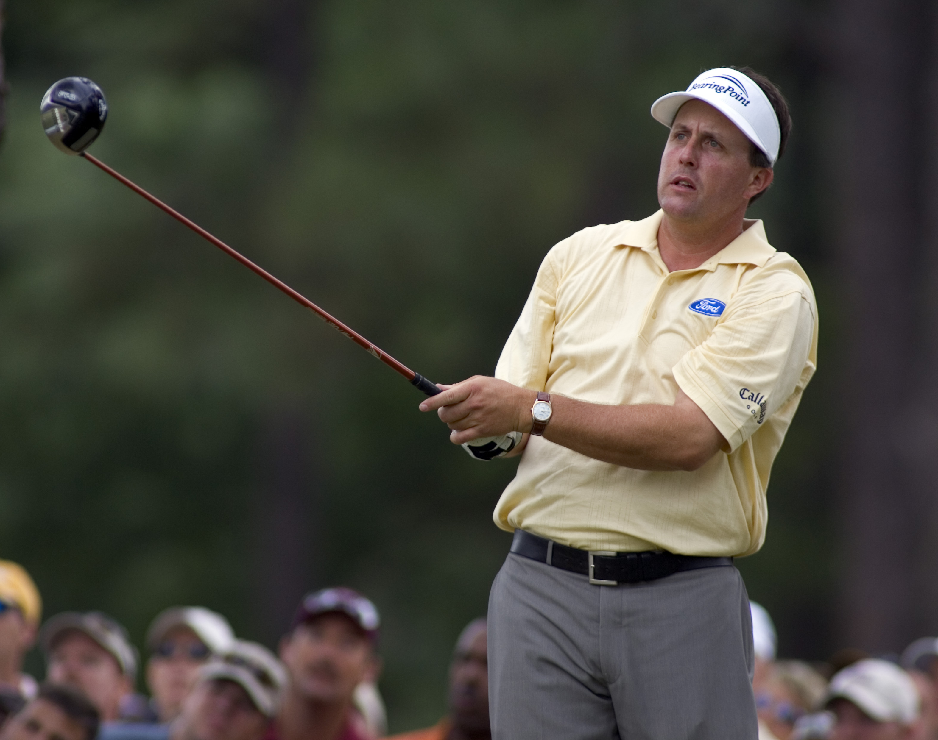 Phil Mickelson tees off during the second round of the 2005 U.S. Open at Pinehurst. Mickelson shot himself out of contention with a 77. Photo by Bob Donnan.