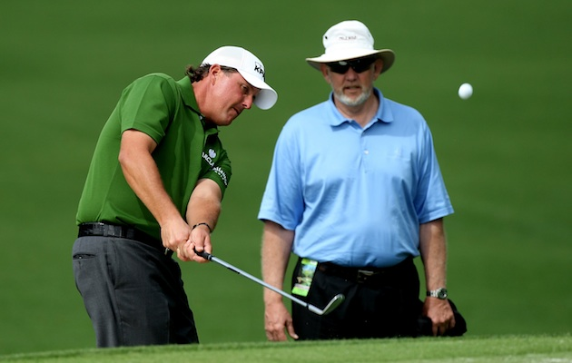 Phil Mickelson works on his short game under the guidance of Dave Pelz.